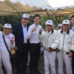 文京区根津神社でラジオ体操花の交流会